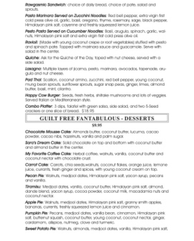 Chef Sara's Raw Vegan Academy and Cafe Menu